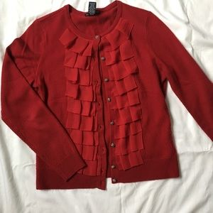 New York & Company Sweaters - red ruffled sweater with crystal beaded buttons